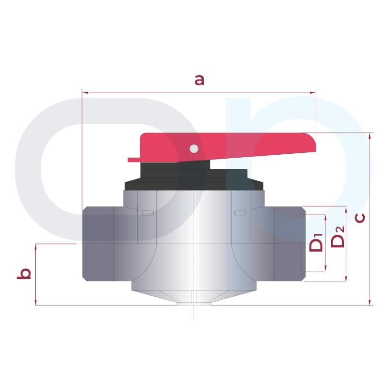 Medidas Válvula de compuerta rotatoria 2 vías para encolar