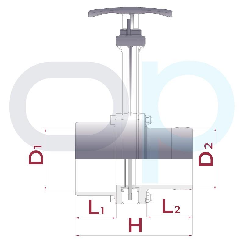 Medidas Válvula de guillotina encolar x espiga