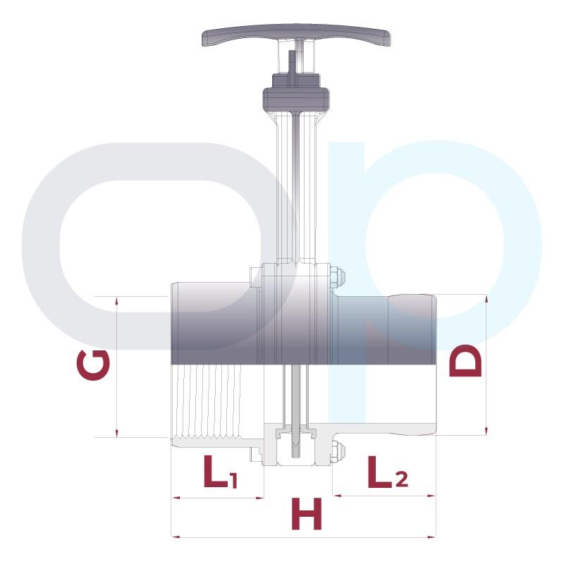 Medidas Válvula de guillotina roscar hembra x espiga