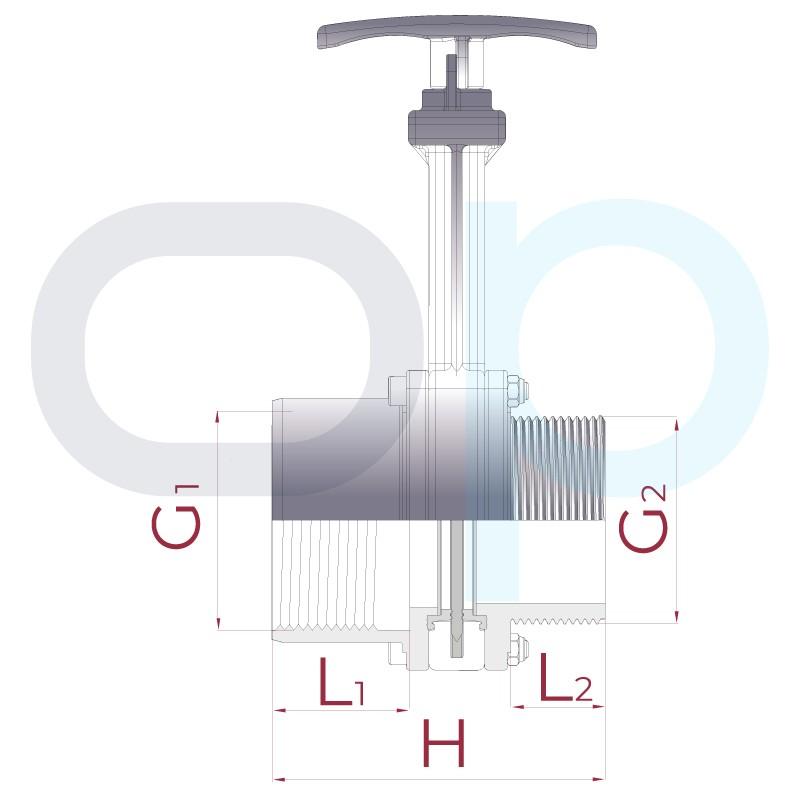 Medidas Válvula de guillotina roscar hembra x roscar macho