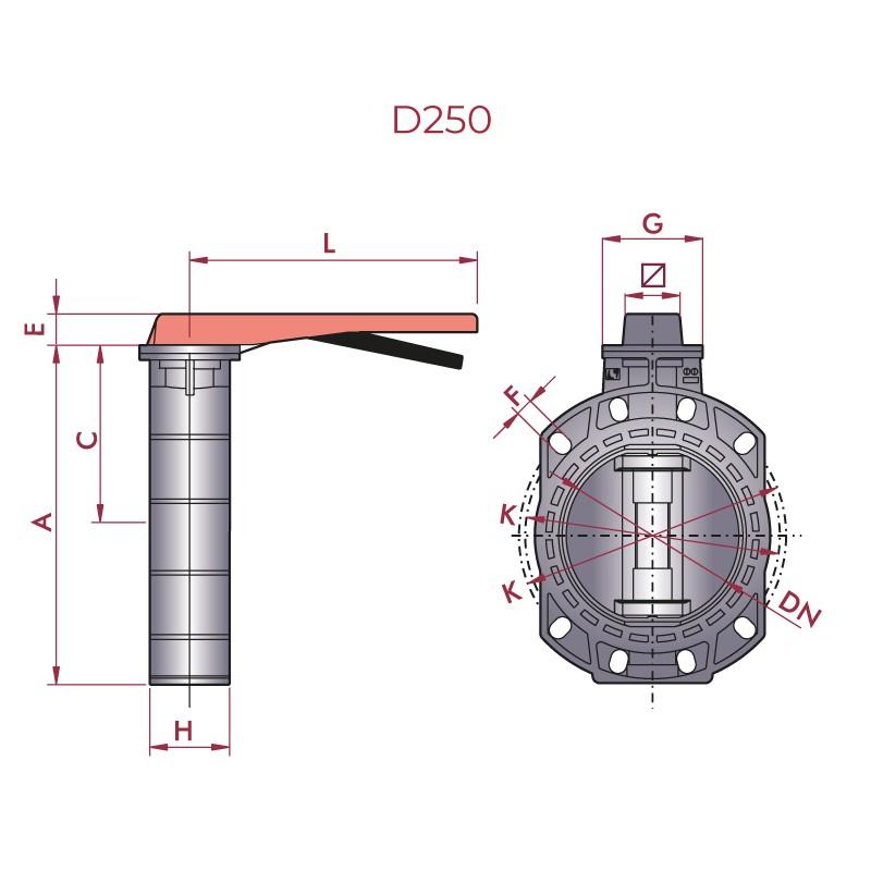 Medidas Válvula de mariposa PVC Serie Classic EPDM 250