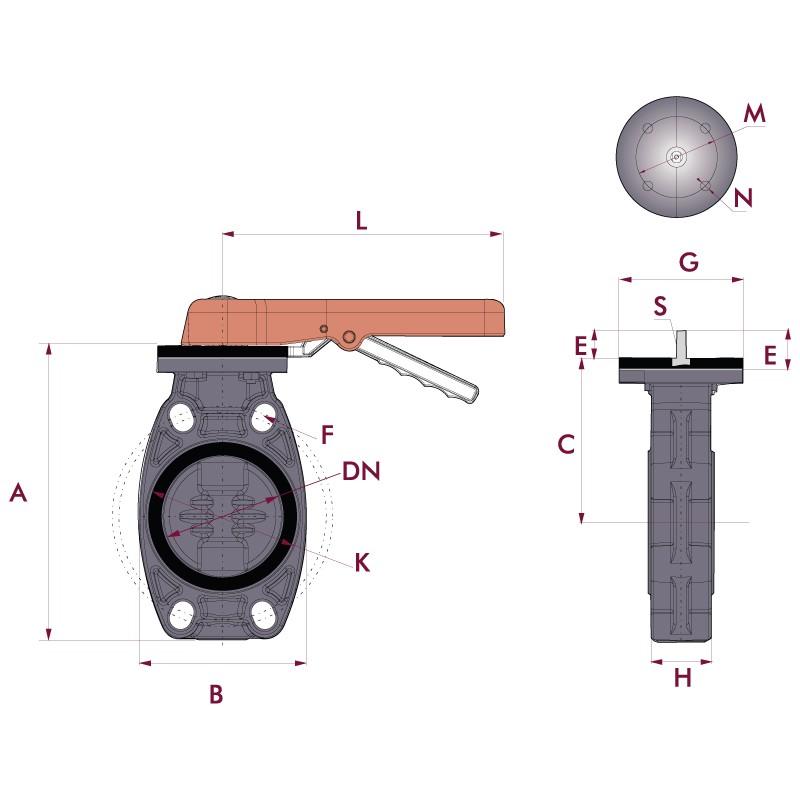 Medidas Válvula mariposa Cepex  de PVC serie estándar