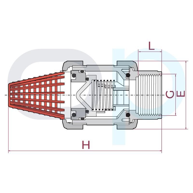 Medidas Válvula de pie PVC EPDM roscar