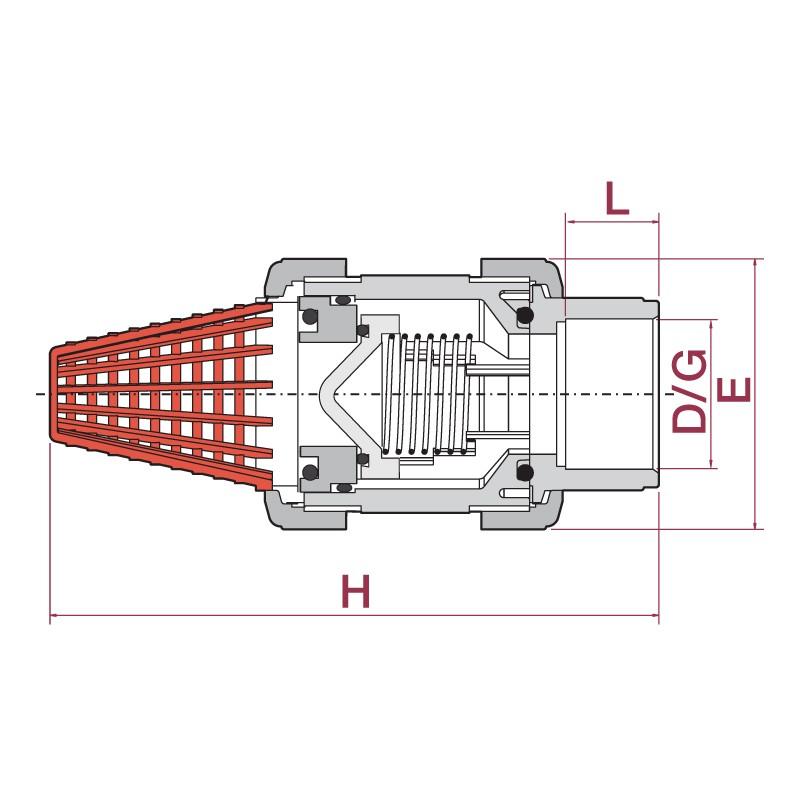 Medidas Válvula de retención de pie