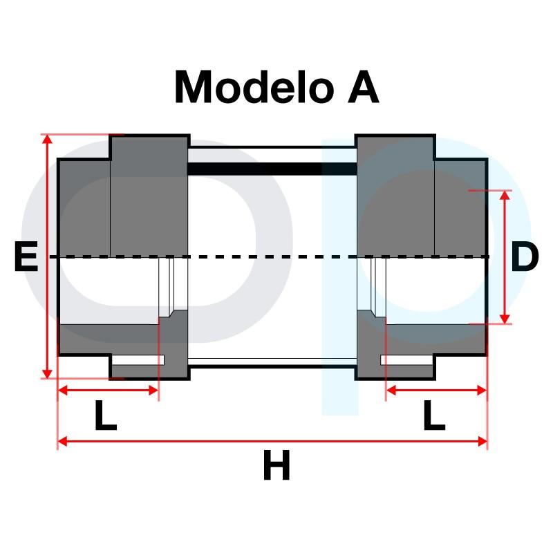 Medidas Visor de líquido encolar PVC Modula A
