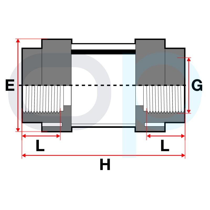 Medidas Visor de líquido roscar PVC