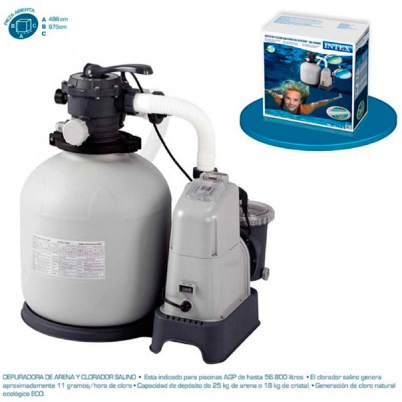 Combo depuradora arena/cloracion salina intex