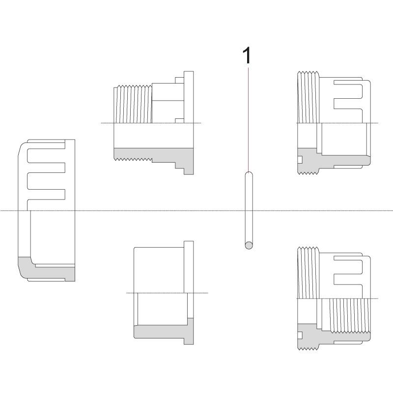 Partes de los enlaces de PVC de 3 piezas