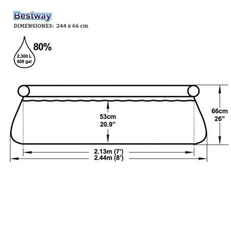 Medidas Piscina Hinchable Bestway Fast Set 244x66