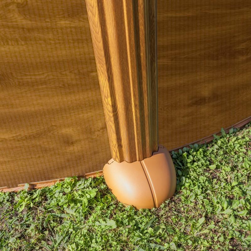 Detalle Piscina desmontable mauritius de acero imitación madera