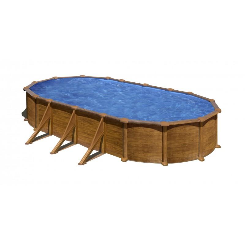 Piscina desmontable mauritius de acero imitación madera
