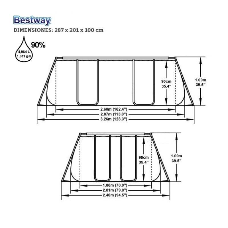 Piscina Bestway Power Steel 287x201x100 - Dimensiones