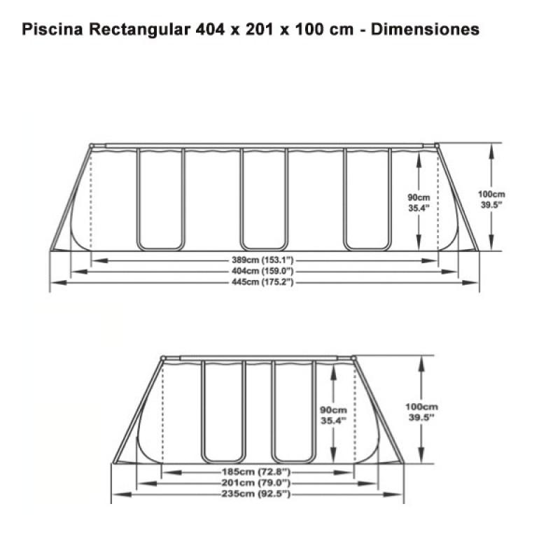 Medidas Piscina Bestway Power Steel 404x201x100