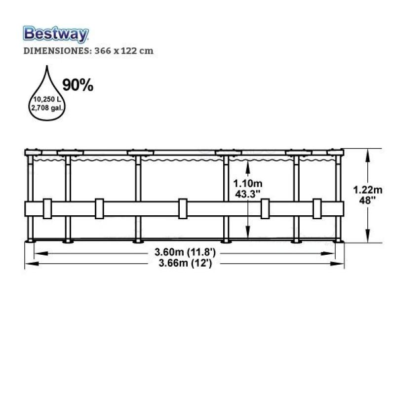 Piscina Bestway Steel Pro Ø 366x122 - Dimensiones