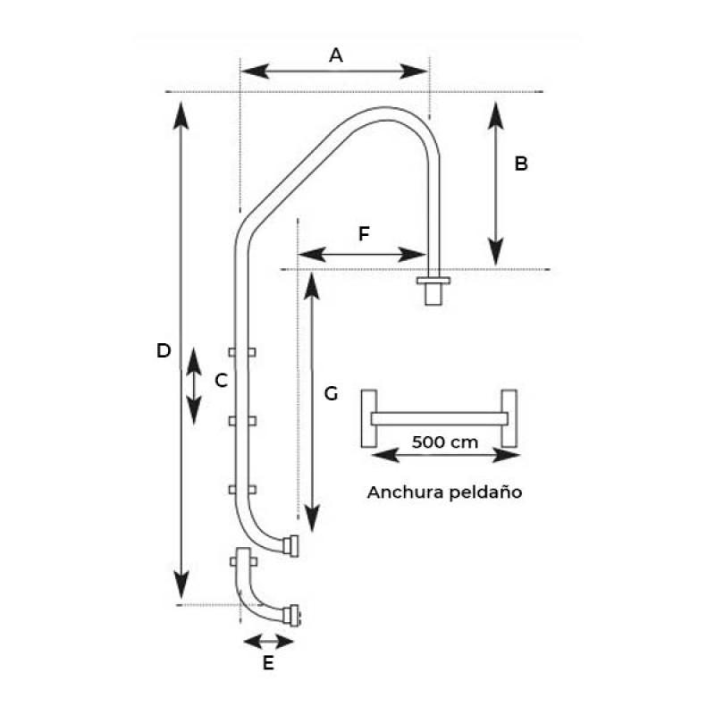 Plano medidas Escalera Standard de QP