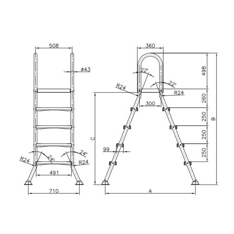 Plano dimensiones escalera de tijeras