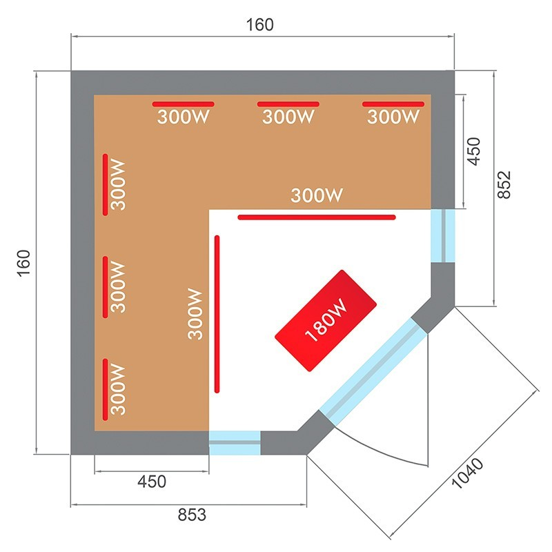 Plano sauna Spectra 3 plazas