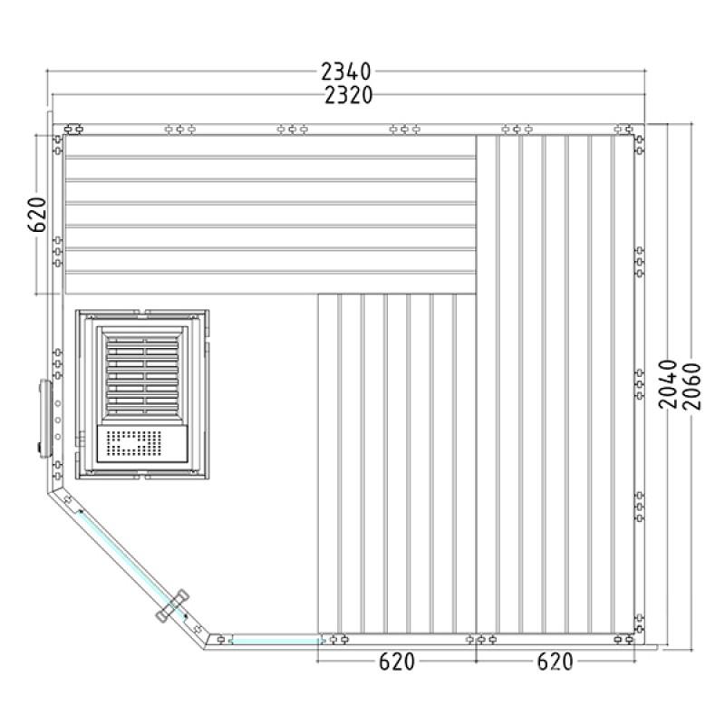 Plano Sauna Vapor Komfort Corner Large