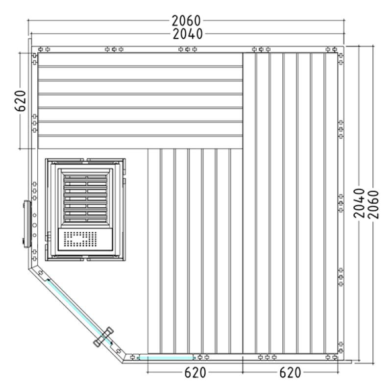 Plano Sauna de Vapor Komfort Corner