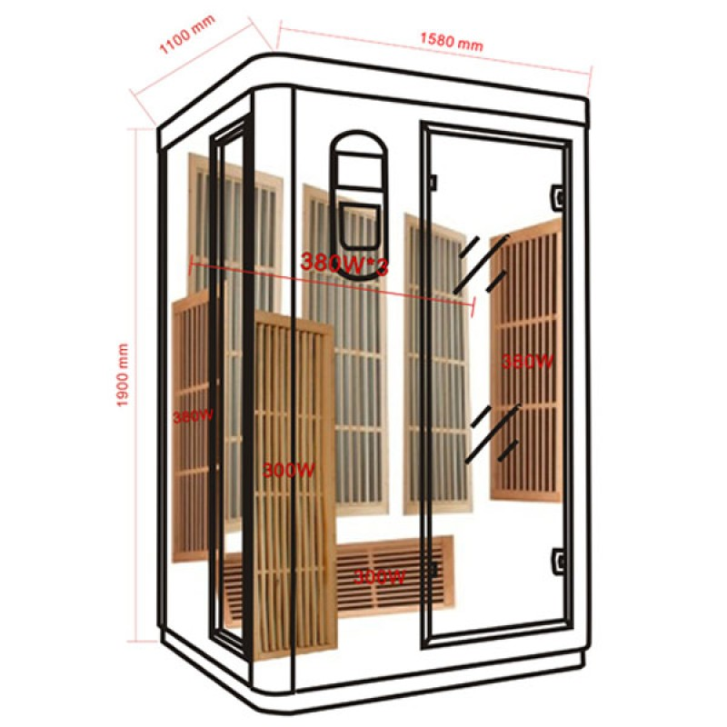 Sauna Infrarrojos Prince 3 Plazas
