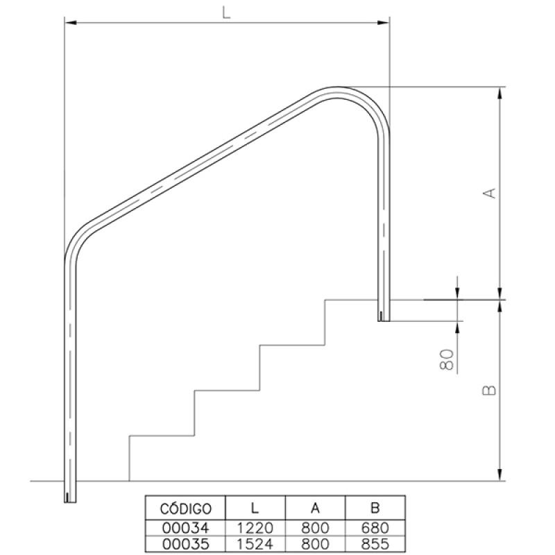 Salida Anclaje Exterior Interior - Dimensiones