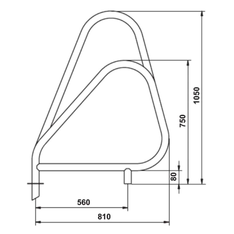 Salida Escalera Partida Modelo Asimétrico - Dimensiones