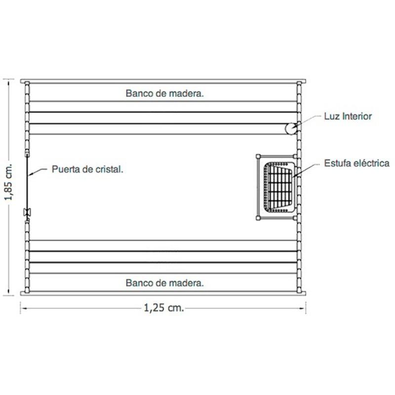 Sauna de Exterior Barril Dimensiones