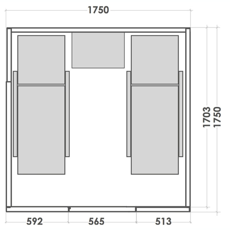 Sauna de Vapor Alto Vap - Dimensiones