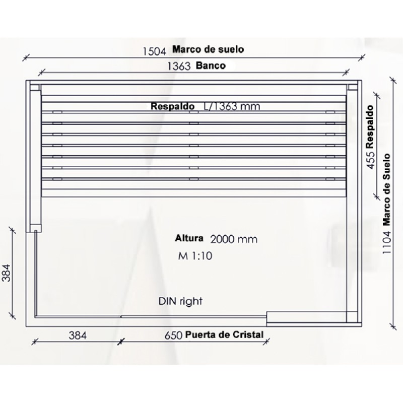 Sauna Infrarrojos Novus - Dimensiones