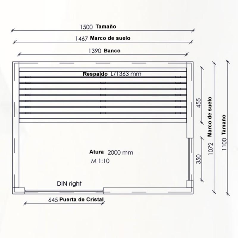 Sauna Infrarrojos Sirius - Dimensiones