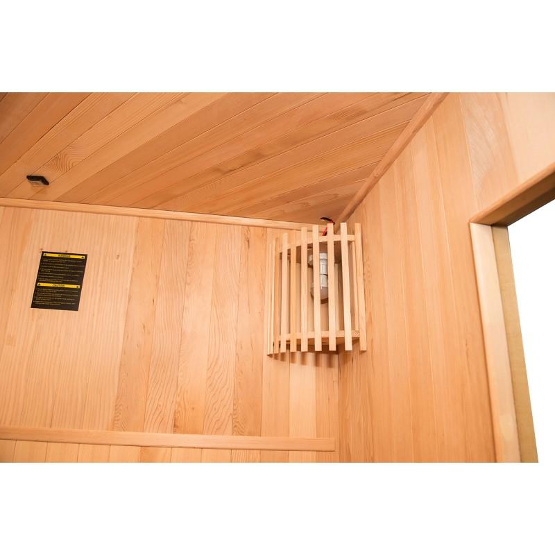Interior Sauna de Vapor Zen Angular para 3 Personas