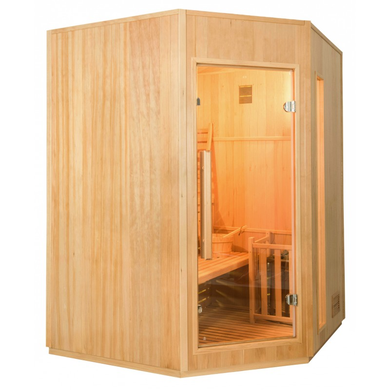 Lateral Sauna de Vapor Zen Angular para 3 Personas