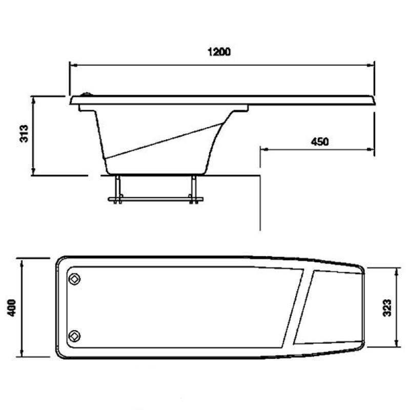 Trampolín Dynamic 1200 Astralpool-Plano Medidas