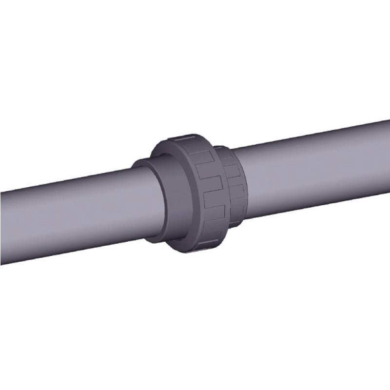Colocación enlace de PVC de 3 piezas
