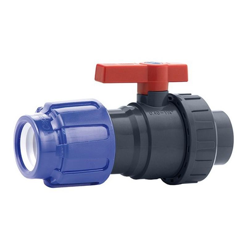 Válvula bola Uniblock PVC PE-EPDM conexión PE y roscada