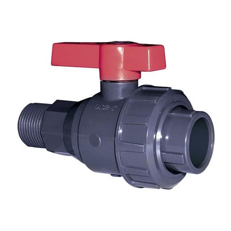 Válvula bola Uniblock PVC PE-EPDM roscar macho y encolar