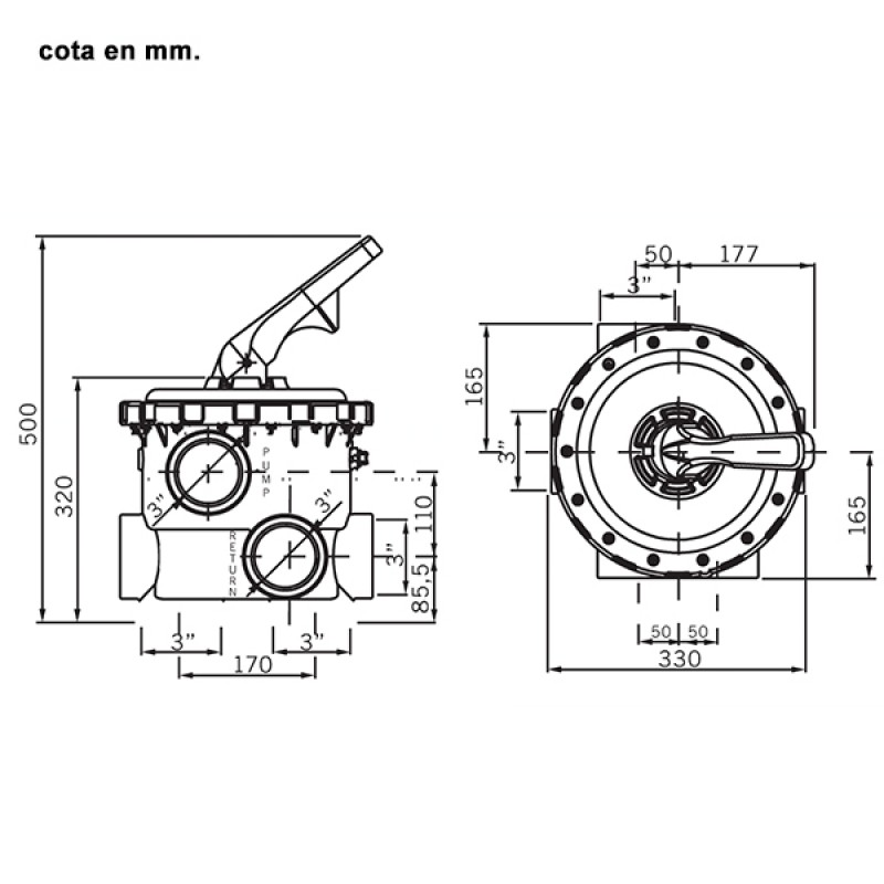"Válvula Selectora Magnum 3"" - Dimensiones"