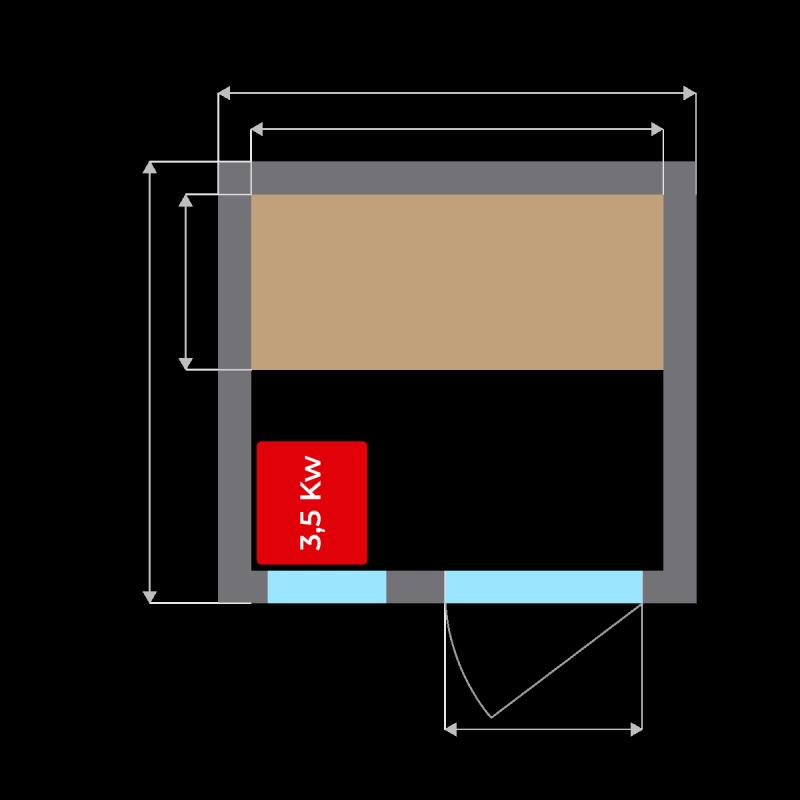 Plano de la Sauna de Vapor Zen 2 Personas