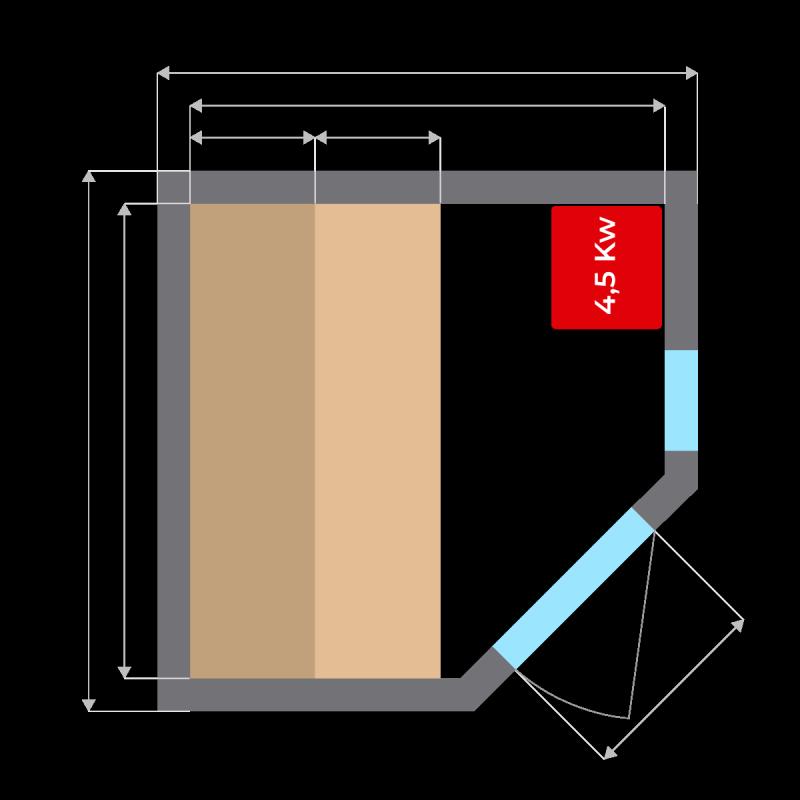 Plano Sauna de Vapor Zen Angular para 3 Personas