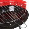 detalle parrilla barbacoa carbón redonda acero color rojo