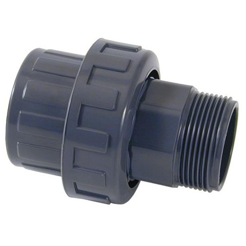 Enlace m/h 3 piezas PVC roscado