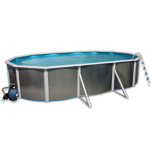 piscina ovalada Toi acero con refuerzos