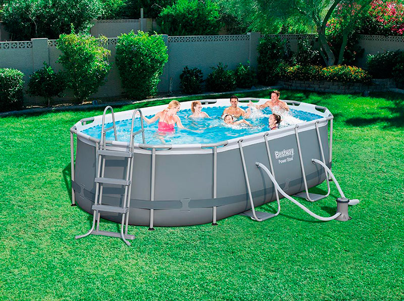 Piscina power steel oval 424x250x100 outlet piscinas - Montaje piscina bestway ...