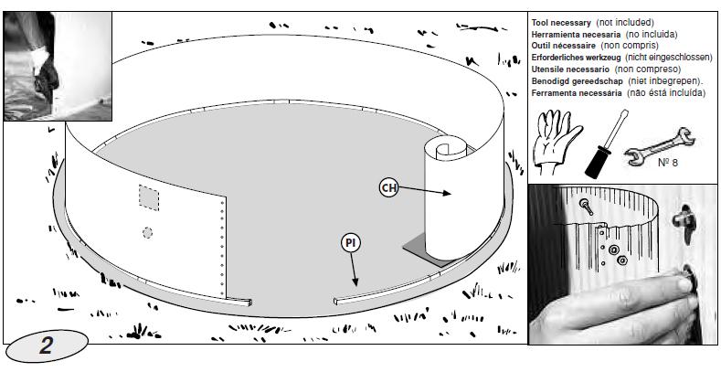 colocacion chapa piscina madera gre