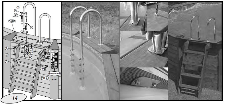 colocacion escaleras piscina de madera gre
