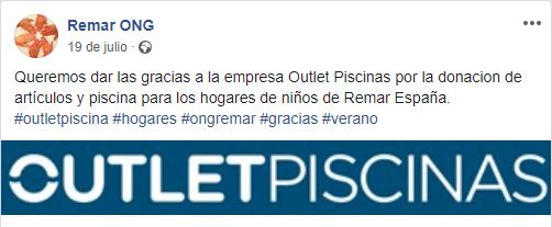 Colaboración Outlet Piscinas ONG Remar