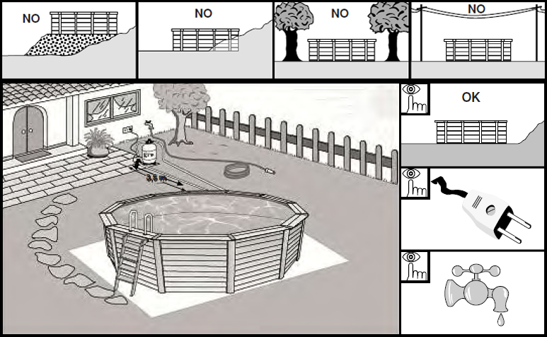 preparación terreno instalación piscina madera gre
