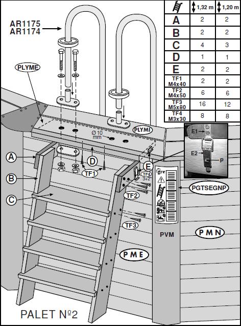 montaje escalera piscina de madera gre