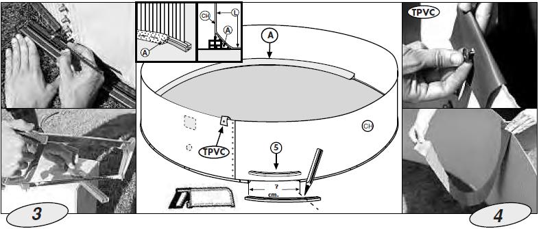 colocacion perfil interior piscina madera gre