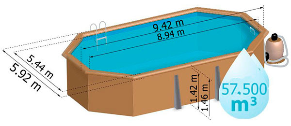 Piscina madera gre avila 786238e outlet piscinas for Piscinas desmontables medidas